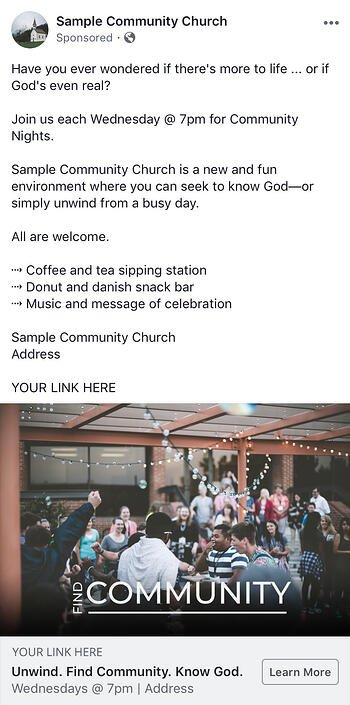 sample church community facebook ad campaign